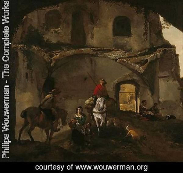 Philips Wouwerman - An Italianate Landscape With Two Riders And Other Figures Beneath Ruined Buildings