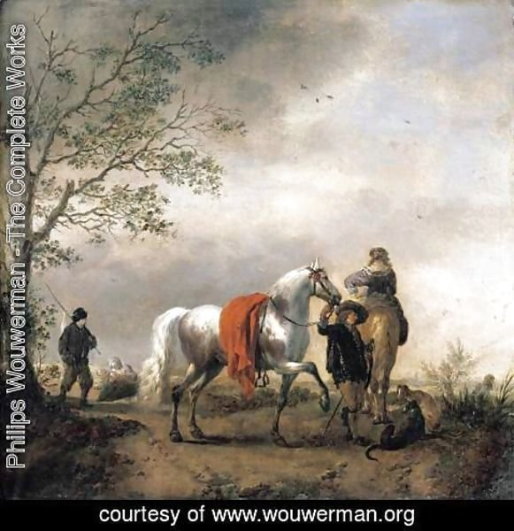Philips Wouwerman - Cavalier Holding A Dappled Grey Horse