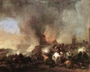 Philips Wouwerman - Cavalry Battle in front of a Burning Mill 1660s