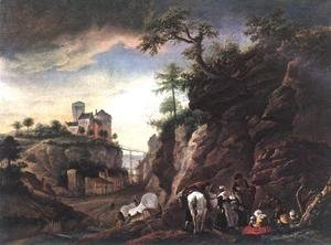 Rocky Landscape With Resting Travellers