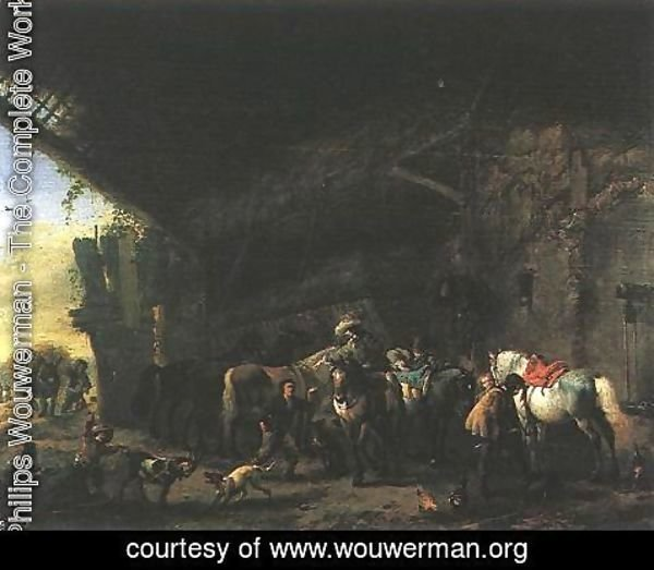 Philips Wouwerman - Scene In Front Of An Inn