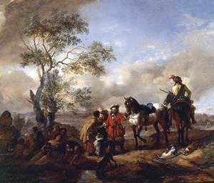 Philips Wouwerman - The Halt at a Gypsy Camp