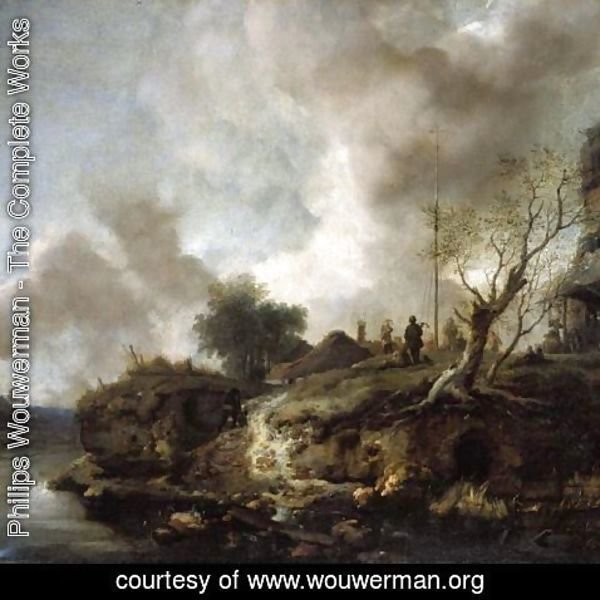 Philips Wouwerman - A Landscape With A River And Figures Shooting The Popinjay