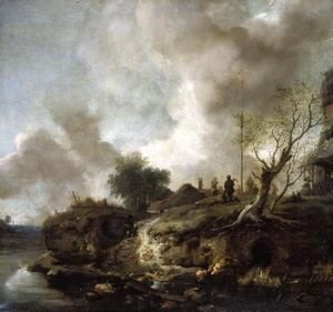 A Landscape With A River And Figures Shooting The Popinjay