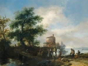 Philips Wouwerman - A River Landscape With A Gentleman And Lady Riding To The Chase, With A Pilgrim Asking For Alms In The Foreground, Other Members Of The Hunting Party Crossing A Wooden Bridge, A Tower Beyond