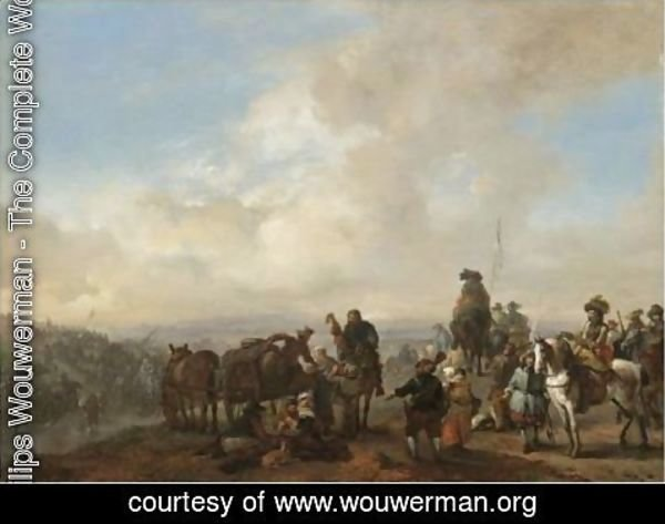 Philips Wouwerman - Landscape With Cavalrymen Crossing A Ford And Peasants Taking Refreshment From A Wagon