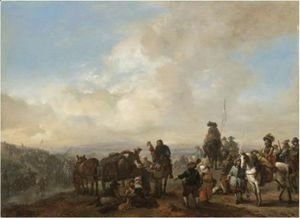 Landscape With Cavalrymen Crossing A Ford And Peasants Taking Refreshment From A Wagon