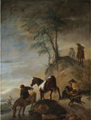 Philips Wouwerman - Riders Watering Their Horses At A River
