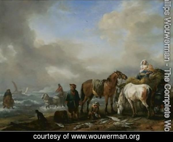 Philips Wouwerman - Fishermen On A Beach With Their Catch