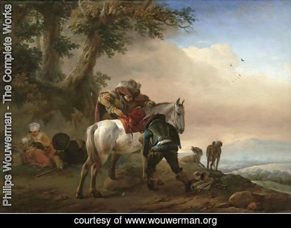 A Huntsman Saddling His Horse, An Extensive Landscape Beyond
