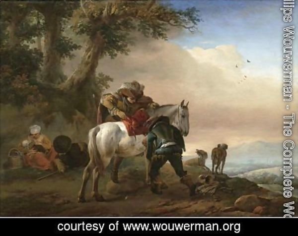 Philips Wouwerman - A Huntsman Saddling His Horse, An Extensive Landscape Beyond