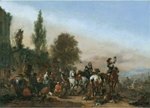 Philips Wouwerman - An Elegant Company Resting After A Hunt