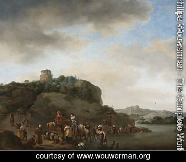 Philips Wouwerman - Landscape With A Hawking Party Stopped By A River