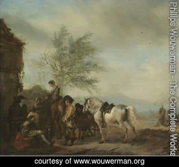 Philips Wouwerman - A Lakeside Halt With Travellers Resting