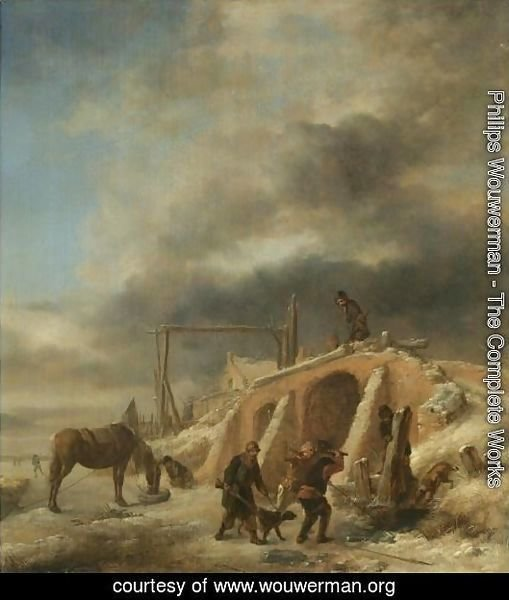 A Winter Landscape, With Figures By A Bridge Over A Frozen Stream