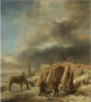 Philips Wouwerman - A Winter Landscape, With Figures By A Bridge Over A Frozen Stream