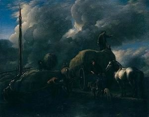 Philips Wouwerman - 'Le Port Au Foin' Harvesters Unloading Hay Into A Barge Beside A River
